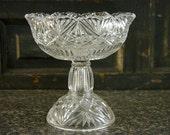 Cut Glass Pedestal Dish, Fancy Cut Glass Candy Dish