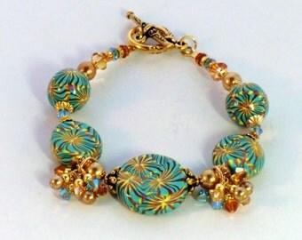 Amber, topaz, gold and turquoise kaleidoscope bracelet, polymer coin beaded bracelet, swarovski crystals pearl dangles aqua boho chic