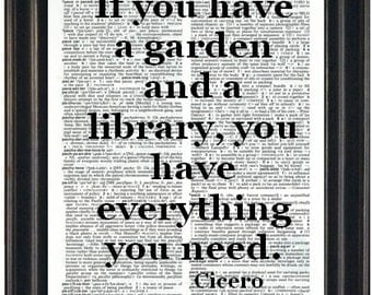 Cicero Quote Print If You Have A Garden and A Library Quote Inspirational Wall Art Book Page Decor Gift for Book Lover Dictionary Page Print