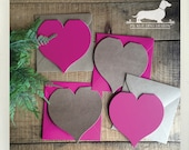 CLEARANCE! Heart. Folded Note Cards (Set of 4) -- (Valentine Card, Love, Pink, Brown Kraft, Heart Shape, Cute, I Heart You, Thank You Cards)