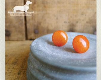CLEARANCE! Orangesicle. Post Earrings -- (Bright, Orange Earrings, Simple, Small, Cute, Vintage-Style, Bridesmaid Jewelry, Gift Under 5)