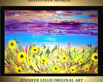 Original Large Abstract Painting Modern Acrylic Painting Oil Painting Canvas Art Yellow SUNFLOWER SUNRISE  36x24 Textured Wall Art  J.LEIGH