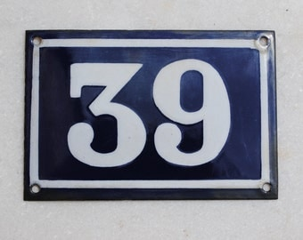 Vintage French enamel cobalt blue and white house number plaque - number 39