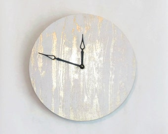 Wall Clock, Gold and White Clock, Woodgrain, Wood Clock, Housewarming Gift,  Home and Living, Home Decor, Decor and Housewares, Gift