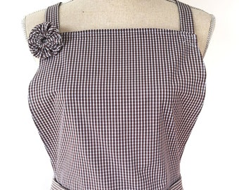 Woman's Apron - White and Brown Gingham/ Checkered - Womens' Kitchen Apron- Made From Men's Dress Shirt - Recycled Upcycled - Cooking Apron