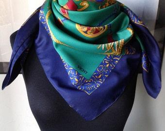 Vintage baroque  scarf, made in Italy,souvenir scarf, intense green