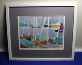 Signed Rico Blass Painting Sailboats 1967 Framed Listed German Artist Impressionist Abstract