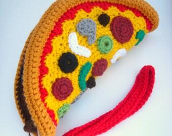 Pizza Clutch Purse. Foodie Wrist Bag. Removable Strap. Zipper Closure. Deluxe Cheese Pizza. Weird Unusual Handbag Amigurumi Kawaii Food