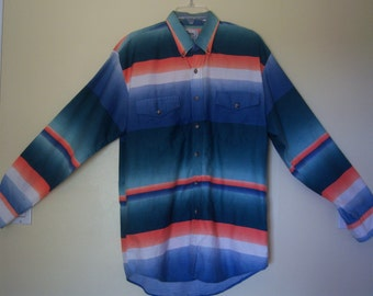 "Men's Vintage Western Shirt, ""Roper Rodeo Blue"", Size Lg - 16.5, Long Sleeve Country Western Shirt, Line Dancing, Rodeo, 100% Cotton, 1980's"