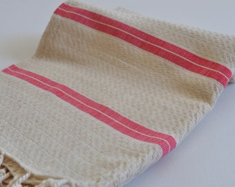 Turkish Bath Towel Handwoven Linen Cotton Mixed Peshtemal Natural linen color with red stripe