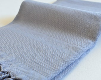 Turkish Towel Peshtemal Towel Hand Loomed grey color for Bath and Beach