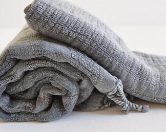 Set of 2 Turkish Towel Peshtemal towel and hand towel Stone washed Light Grey soft, genuinehand loomed