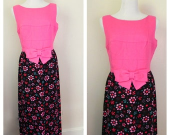 Vintage 1950s-1960s Pink Linen Dress  // Pink Linen with Floral Skirt Gown