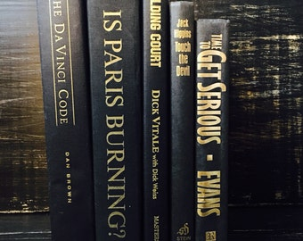 Black Vintage Books, Book Collection, Book Bundle, Photography Props, Shades of Black Books ,Instant library