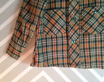 vintage sears winnie the pooh boys plaid flannel shirt top jacket size 3-4-5 years
