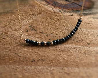 Super Dainty Black Necklace 14kt Gold Filled Black Spinel Necklace Gemstone Jewelry Handmade Necklace Birthday Gift Anniversary