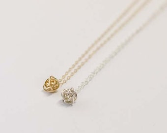 Tiny Knot Necklace, Tie the Knot Necklace, Bridesmaid Necklace, Gold Fill//Sterling Silver,Weddings, Bridal Necklace, Bridesmaids Jewelry