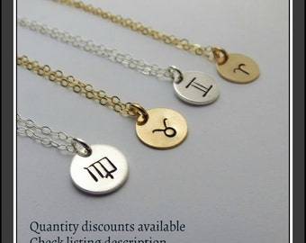 Bridesmaids Necklaces Bridesmaids Jewelry Gift Zodiac Necklace Horoscope Necklace For Bridesmaids