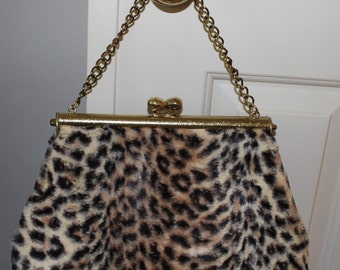 Vintage 1950's Leopard Faux Fur Sexy Kitten Kelly Handbag Purse Gold Chain Handle