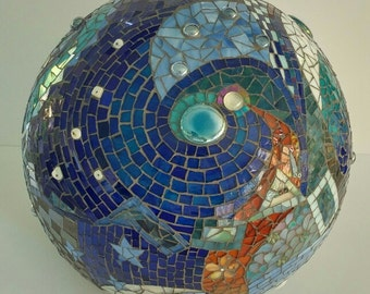 mosaic orb high end fine art stained glass terracotta original unique blue copper blue and white checkered spiral mirrors glass beads