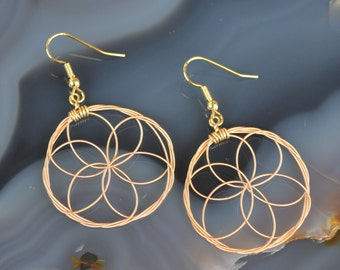 Sacred Geometry Guitar String Earrings in Copper Tone
