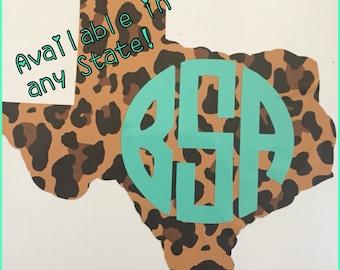 Cheetah print texas with monogram decal, texas yeti decal, texas sticker