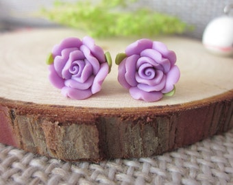 20 pcs 12mm purple Polymer Clay Flower Beads, FIMO rose Pendant, Charm craft jewelry, wedding,Necklaces Earrings Bracelet Accessories-22