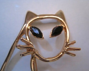 Vintage Cat Brooch, Gold tone Cat, Black rhinestone Eyes, Open Design, Feline, Figural Pin, Cat PIn