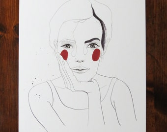 Claudia - Pen & Ink Illustration Print