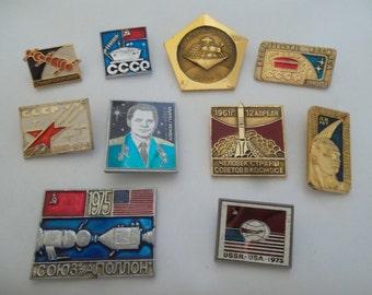 set of cosmos pin badges - Soviet USSR space program - 10 pcs