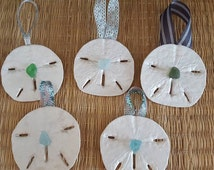 Sand Dollar Ornaments! Hand painted, pearl or sea glass accent, hang from different ribbons,Coastal décor, Coastal Christmas, Nautical Decor