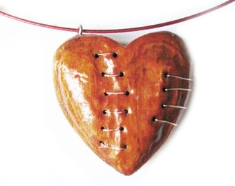 Wood heart pendant B7 broken stitched mended love handmade necklace big ornament charm