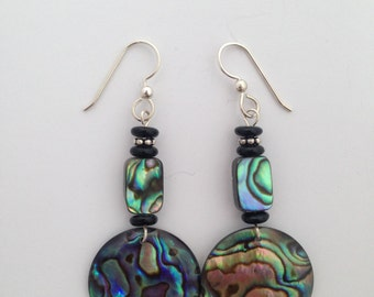 Abalone, Paua Shell, Black Onyx, and Sterling Silver Earrings
