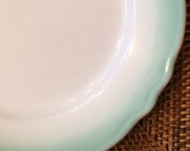 Vintage Homer Laughlin White Dinner Plates with Turquoise Scalloped Border, ca. 1966