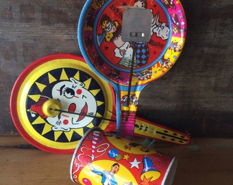 Tin Noisemakers Shakers, Bright Colors Vintage Metal Party Supply by Kirchhof and U. S. Metal Toy