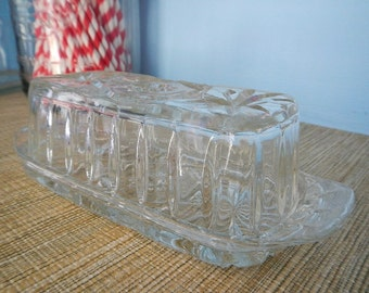 EAPC Early American Prescut Star of David Anchor Hocking Fire King Covered Glass Butter Dish