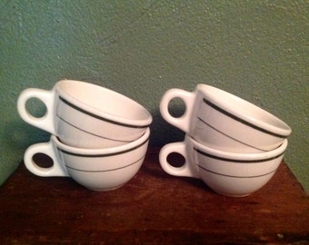 4 vintage Buffalo restaurant china coffee cups green stripes ceramic