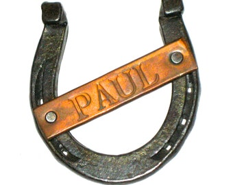 Vintage horseshoe with Paul name plate marked Horseshoe Forge Lexington Mass