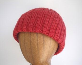 Warm Red Hat, Hand Knit, Peruvian Wool, Teens Men Women, Watch Cap Beanie, Jacques Cousteau