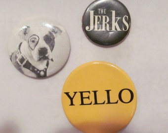3 Vintage Buttons/Badges