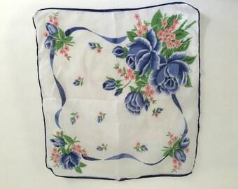 Vintage Handkerchief, Vintage Hankie, blue roses handkerchief