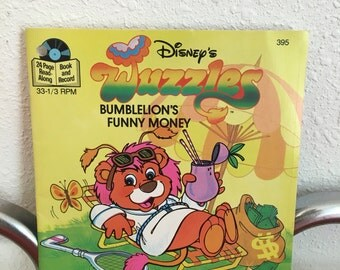 Vintage Record and Book, Children's Record, Vintage Wuzzles. Bumbelions Funny Money