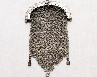925 Silver French Chain Mail Purse, Vintage French Chatelaine Purse, Mesh Purse, Chain Mail Purse, Late 1800s purse, Chatelaine Purse,