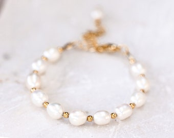 626_White pearl jewellery, Real pearl bracelet, Gold pearl bracelet, Bridal pearl jewellery, Ivory pearl bracelet Bridesmaid pearl jewellery