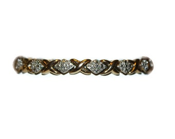 Vintage Gold Vermeil Sterling Diamond Tennis Bracelet 7.5 inches
