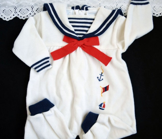 Baby Girls Sailor Romper Vintage Nautical Outfit White Navy