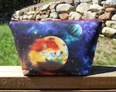 Large Makeup Bag, Space Bag, Planets Bag, Solar System Bag, One of a Kind