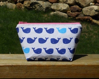 Extra Small Makeup Bag, Blue Whales on White, One of a Kind