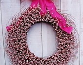 LARGE Spring Wreath-Easter Wreath-Spring Door Wreath-Front Door Wreath-Summer Wreath-RUSTIC HOT Pink Burlap Pink Berry Door Wreath-Wreaths