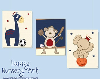 Baby boy nursery wall art, children art prints, sports, navy blue nursery art, basketball nursery art, soccer nursery ideas, baby boy art